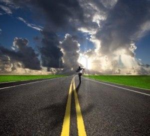 Road Sky Clouds